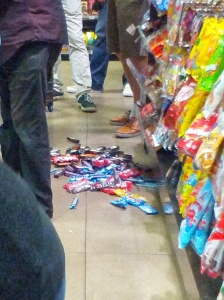 Some of the confectionary that avalanches it's way onto the floor.