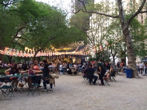 Dining in Maddison Square Park at the Stack Shack