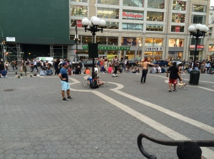 Playing football in Union Square