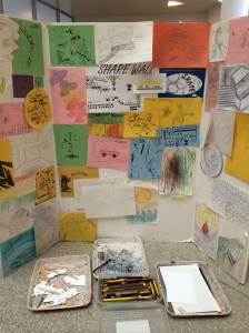 Children's artwork on display in Guggenheim Museum New York City May 2014